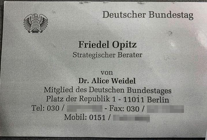 Faksimile einer Opitz-Visitenkarte