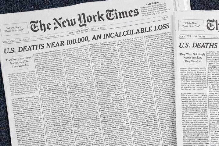 """Titelseite der """"New York Times"""" mit Angaben zu 1000 Covid-19-Opfern"""