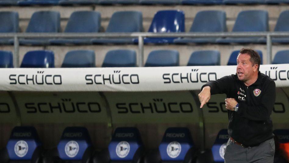 """Dresden-Trainer Markus Kauczinski während der Partie gegen Arminia Bielefeld: """"Chancengleichheit sind für mich das A und O"""""""