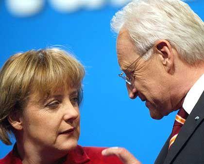"""CDU-Chefin Merkel, CSU-Chef Stoiber: """"Mehr Abstimmungsprobleme in der CDU als zwischen den Schwesterparteien"""""""
