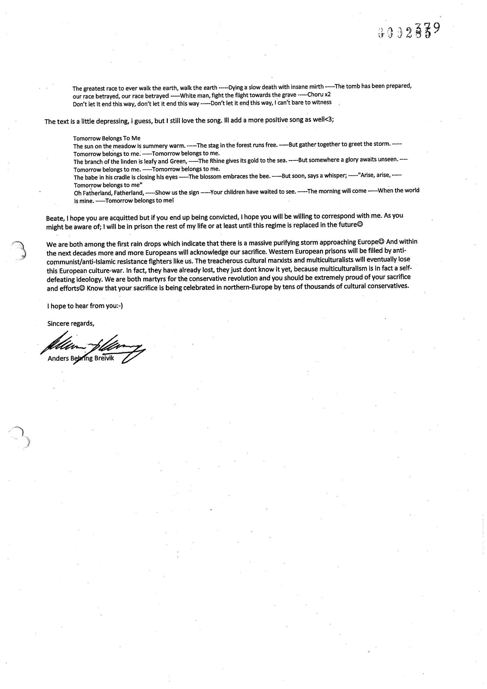 EINMALIGE VERWENDUNG DER SPIEGEL 47/2012 S. 40 Breivik-Brief an Beate Zschäpe