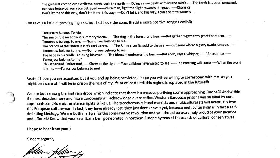 An excerpt of Breivik's letter to Zschäpe. Click image to enlarge the text.