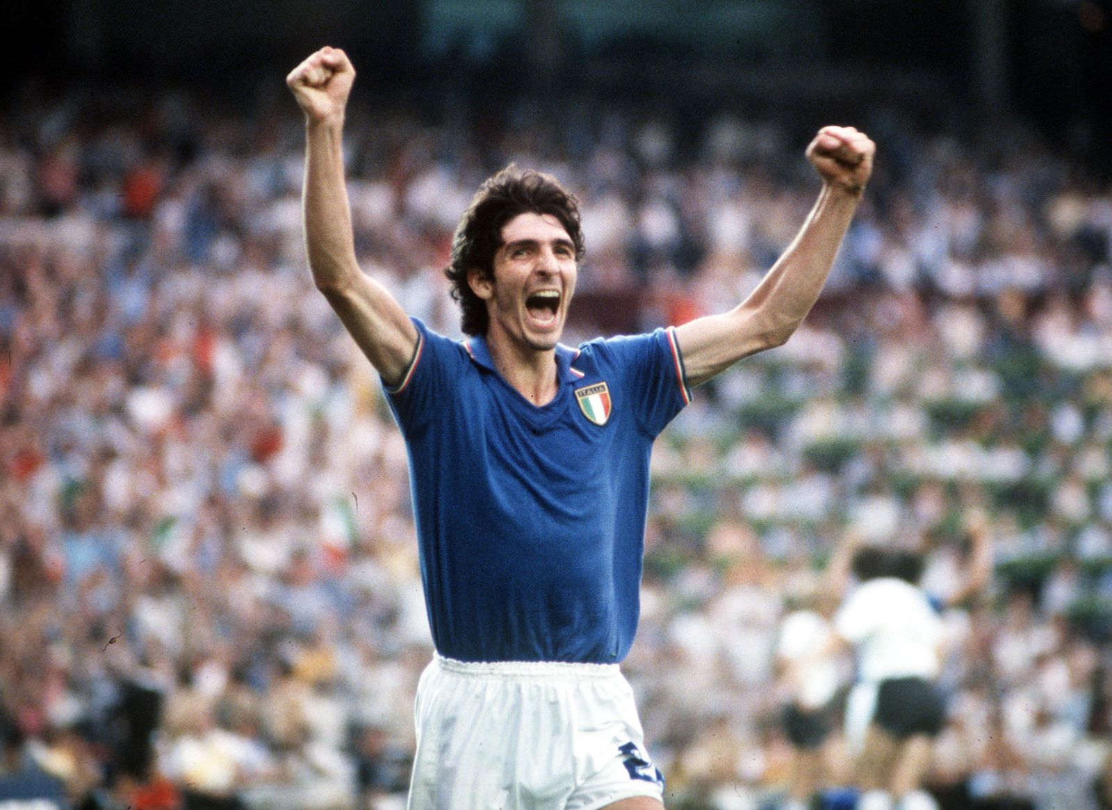 1982 World Cup Final. Madrid, Spain. 11th July, 1982. Italy 3 v West Germany 1. Italy's Paolo Rossi celebrates after scoring the opening goal in the World Cup Final.