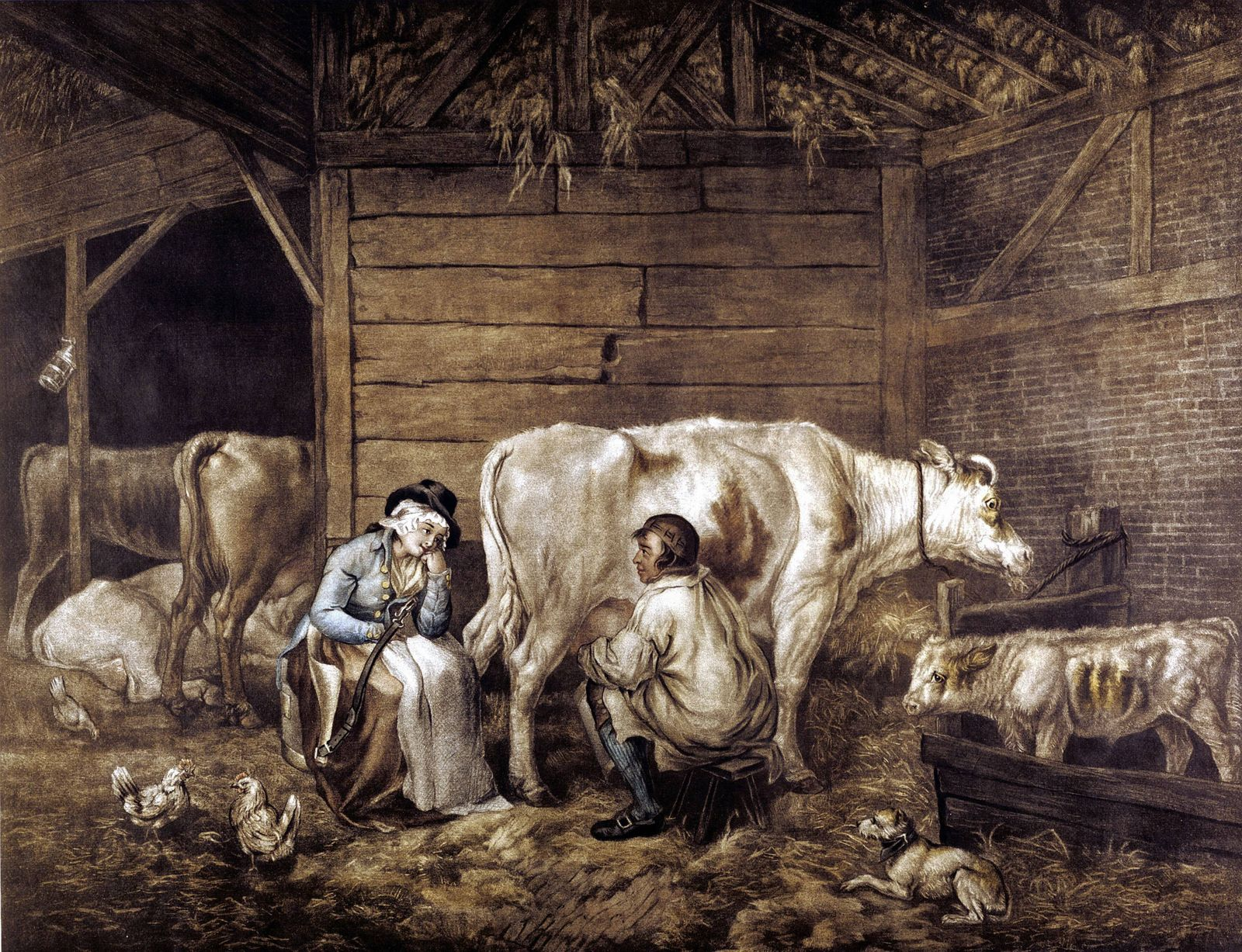 The Cowshed The Cowshed mezzotint after George Morland 1763 1804 English artist Cowman milks into
