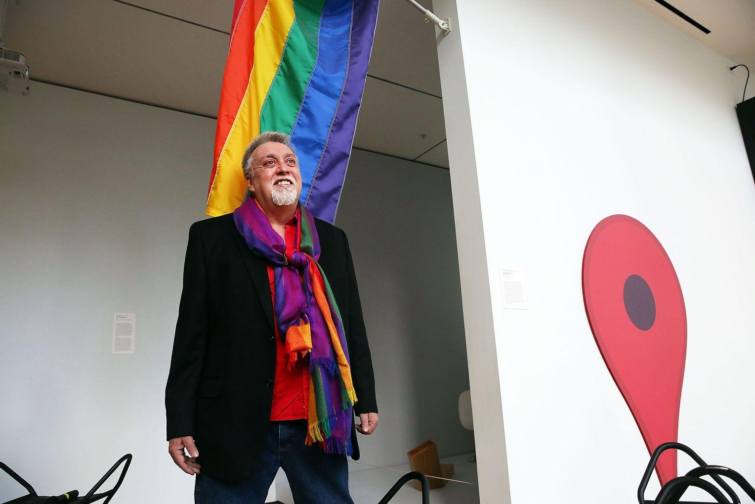 Gilbert Baker in front oh the Rainbow Flag in the Museum of Modern Art, New York, NY, USA.  Photo by Spencer Platt.