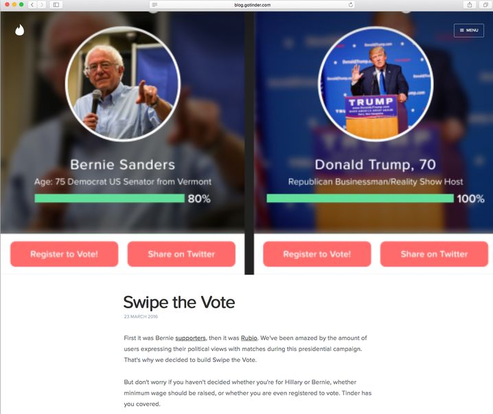 "Tinder-Funktion ""Swipe The Vote"" in den USA"