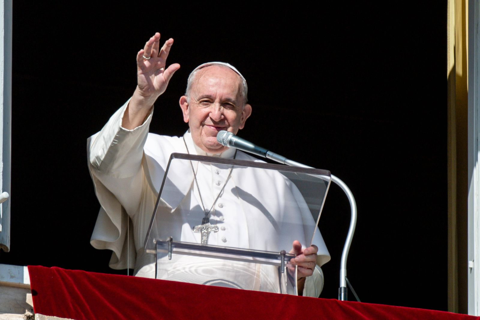 NO FRANCE - NO SWITZERLAND: November 8, 2020 : Pope Francis delivers his blessing during the Angelus noon prayer delive
