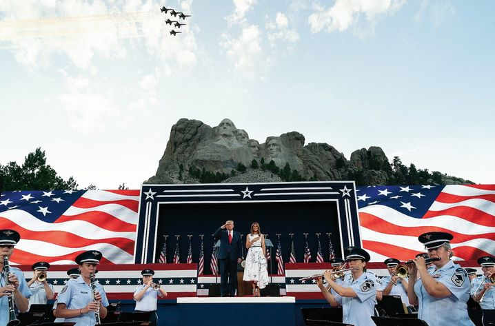 "Donald and Melania Trump at Mount Rushmore, where the president described a nascent ""far-left fascism."""