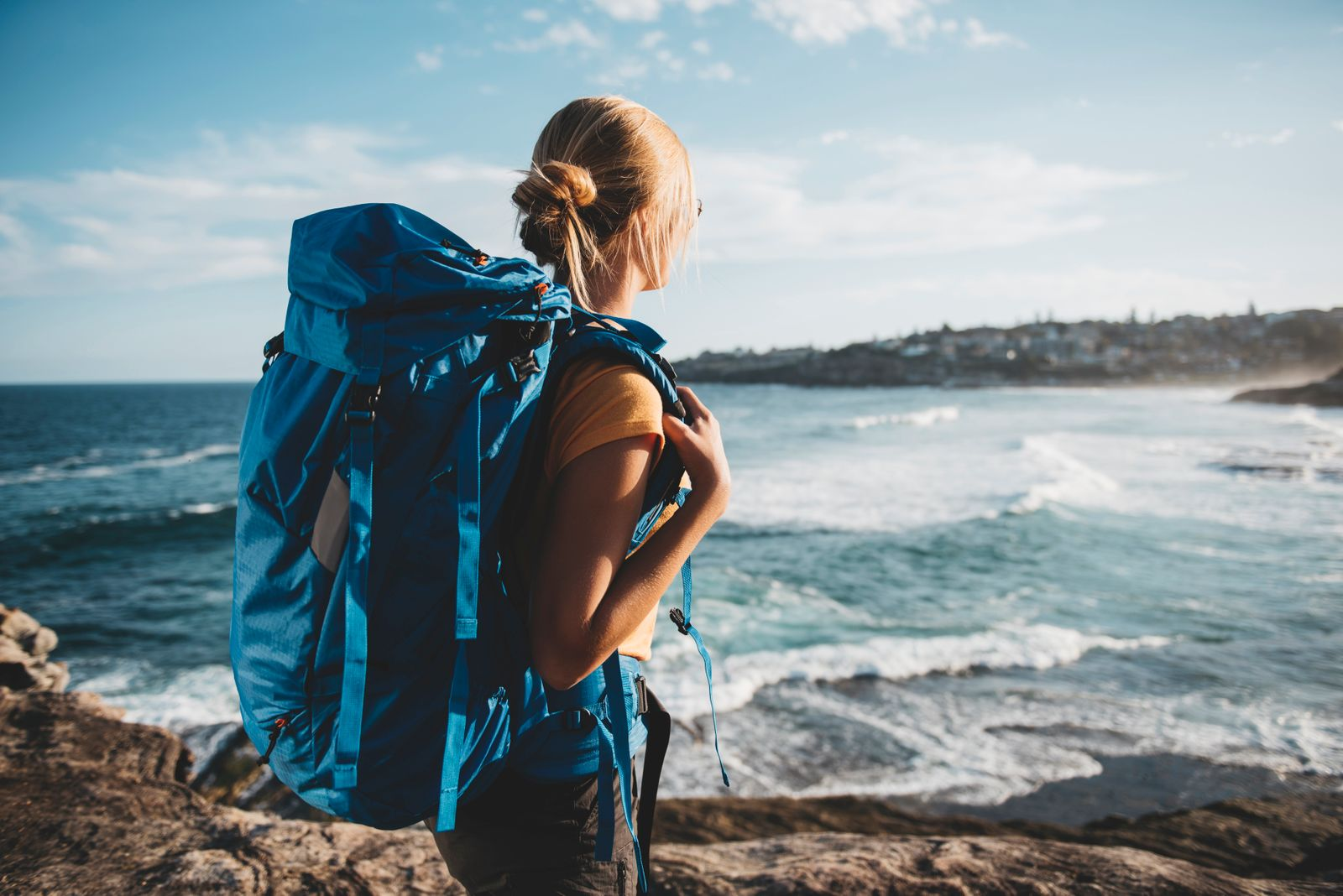 Young female backpacker