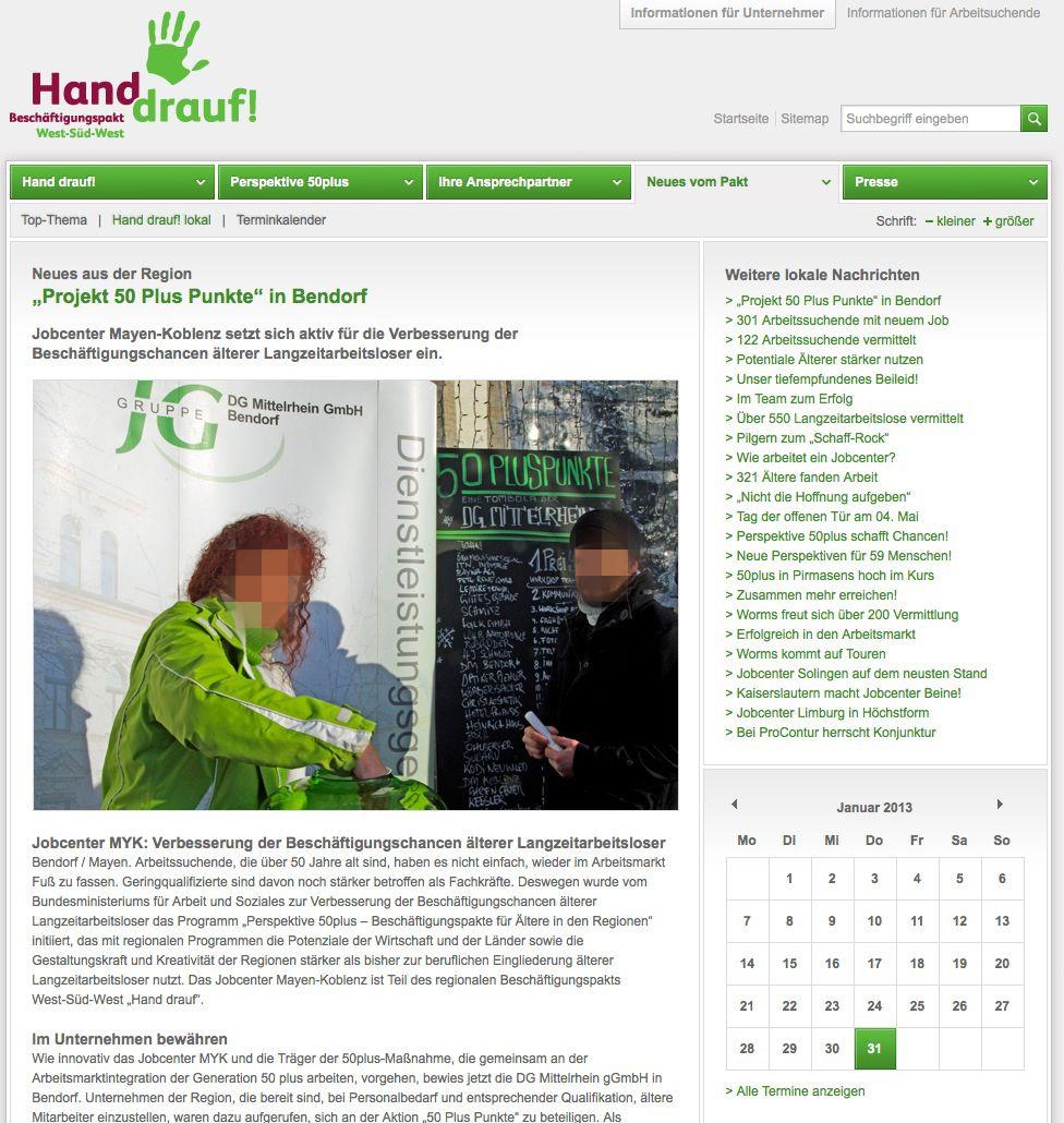 EINMALIGE VERWENDUNG Projekt 50 Plus Punkte / Bendorf / Screenshot