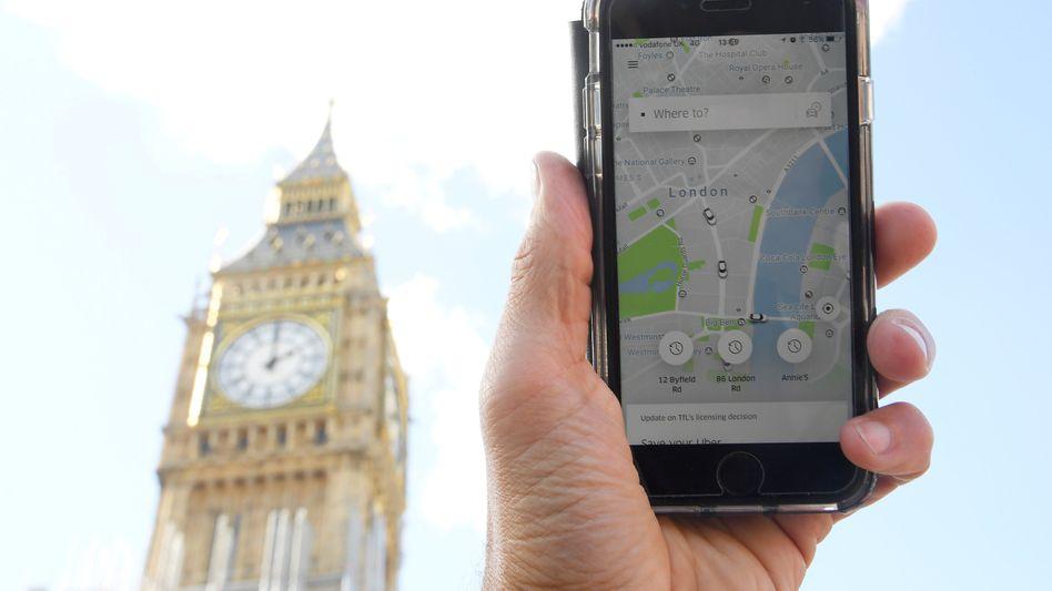 Uber-App-Nutzer in London