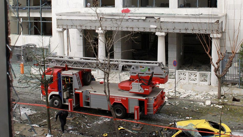A deployment of emergency workers following an explosion in central Athens on Thursday