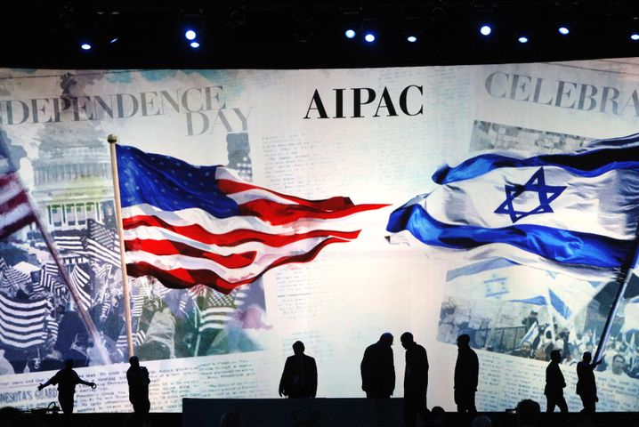 Vorbereitungen des American Israel Public Affairs Committee (Aipac) am Montag