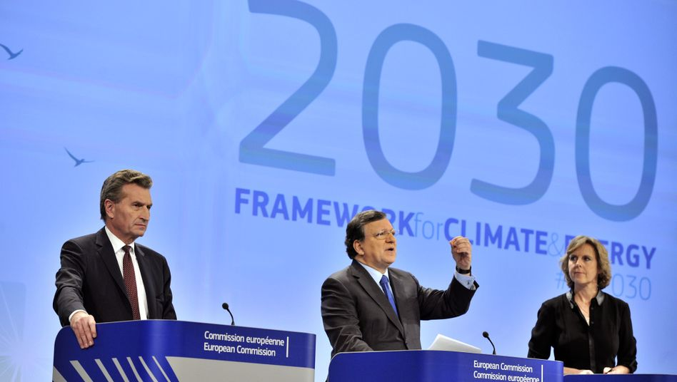 Oettinger, Barroso, Hedegaard: Briten-Premier Cameron verbucht mit dem EU-Klimaziel einen Triumph