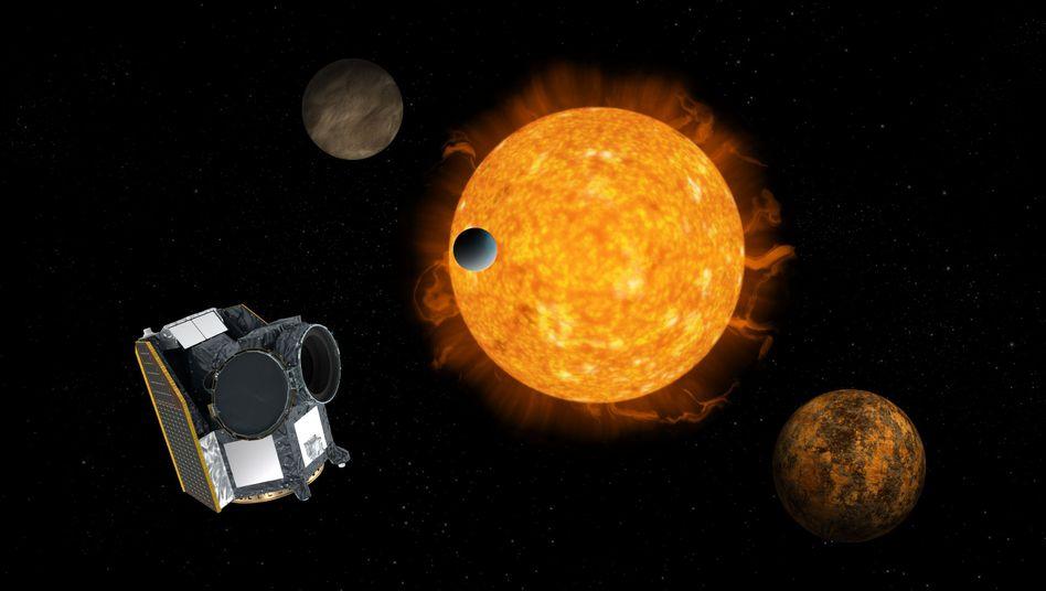"""""""Cheops"""" mit Stern und Exoplaneten: Der Satellit ist etwa doppelt so groß wie eine Waschmaschine"""