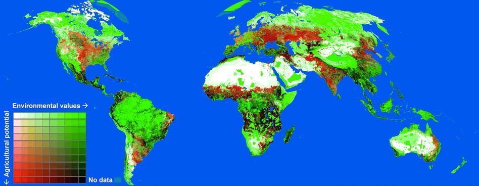 Vier Farben, ein Problem: An den dunklen Stellen droht das landwirtschaftliche Potenzial besonders schützenswerte Umwelt zu verdrängen