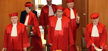 The judges of Germany's Constitutional Court on Tuesday.
