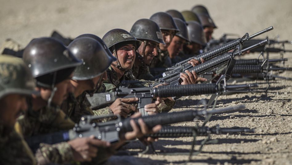 Afghan troops undergoing training last November in Kabul.