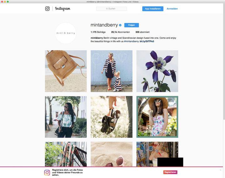 """Instagram-Account von """"mint & berry"""" (Screenshot)"""