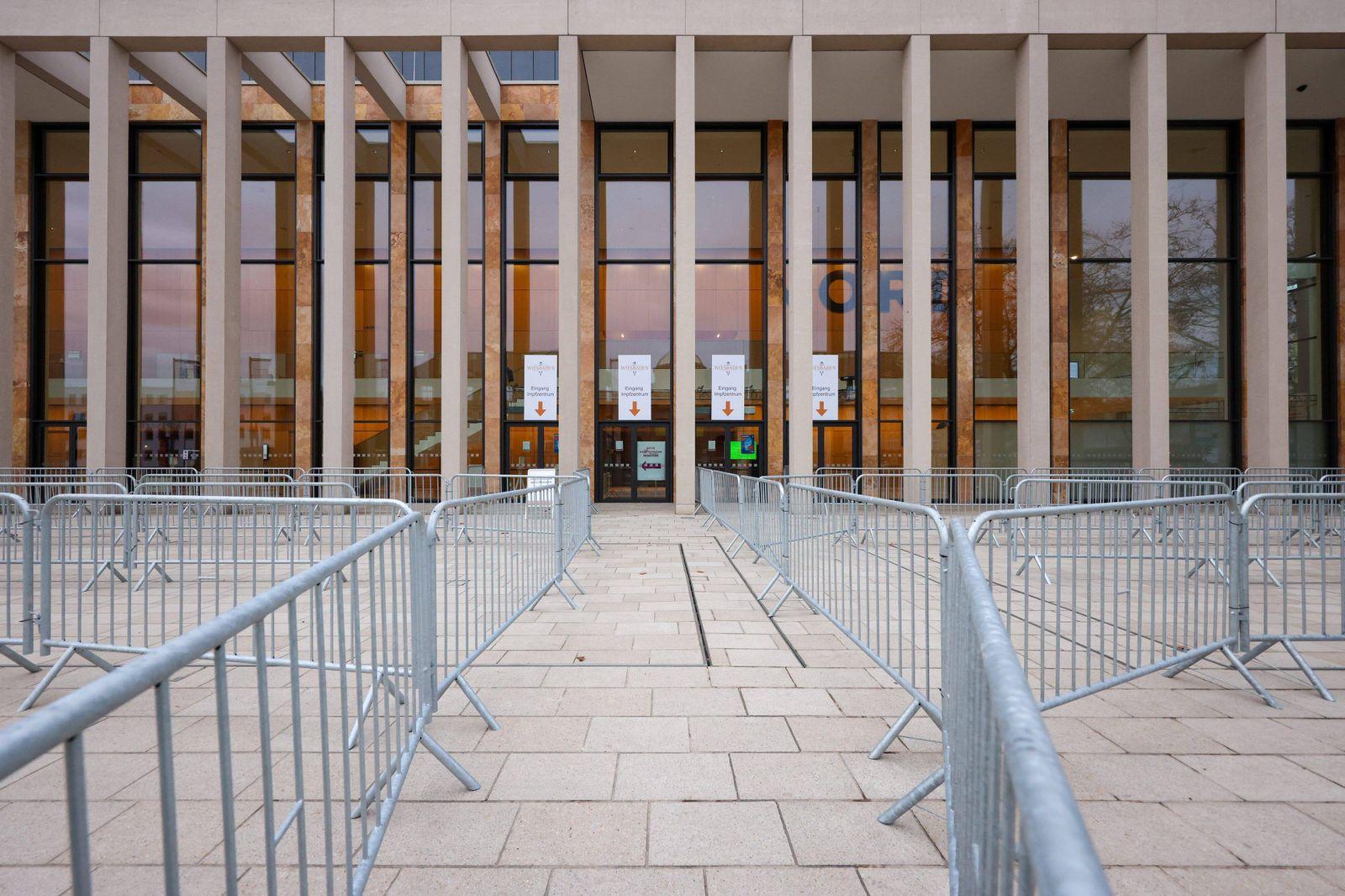 Wiesbaden, RheinMain Congress Center, 16.01.2021, Impfzentrum der Landeshauptstadt Wiesbaden, Bild: Der Eingangsbereich