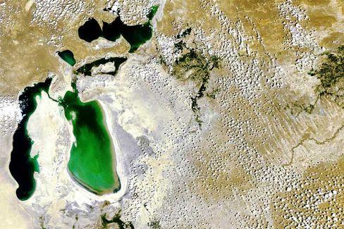 Durstig: Der Aralsee ist nur noch halb so groß wie vor rund 40 Jahren. In einigen Jahren soll fast nur noch weiße Salzwüste da sein