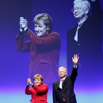 Wahlkämpfer Koch mit Kanzlerin Merkel: Vorgeschmack auf 2009?