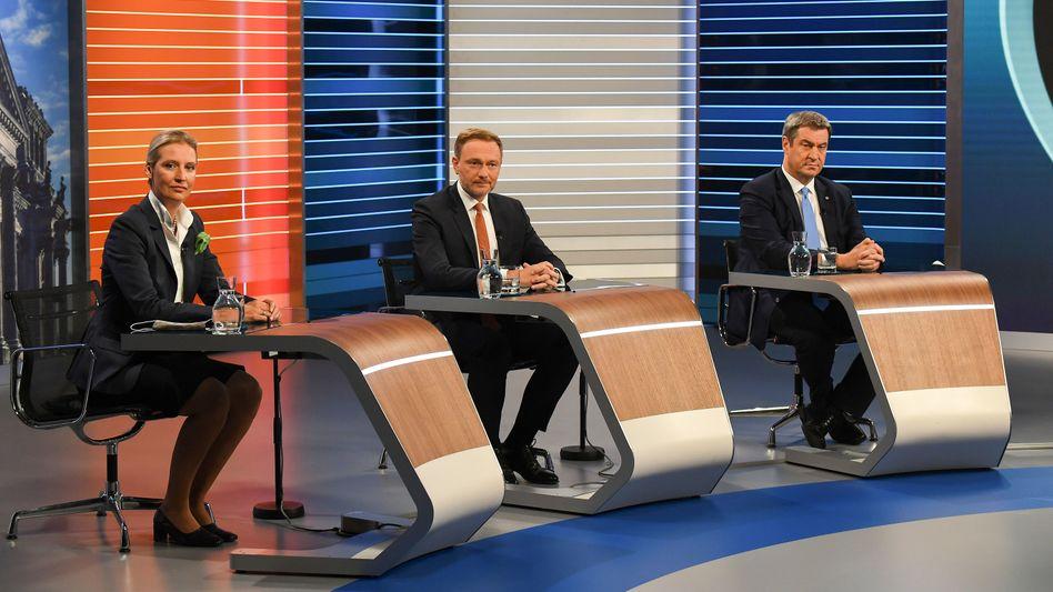Alice Weidel, Christian Lindner, Markus Söder bei der Wahl-Schlussrunde von ARD und ZDF