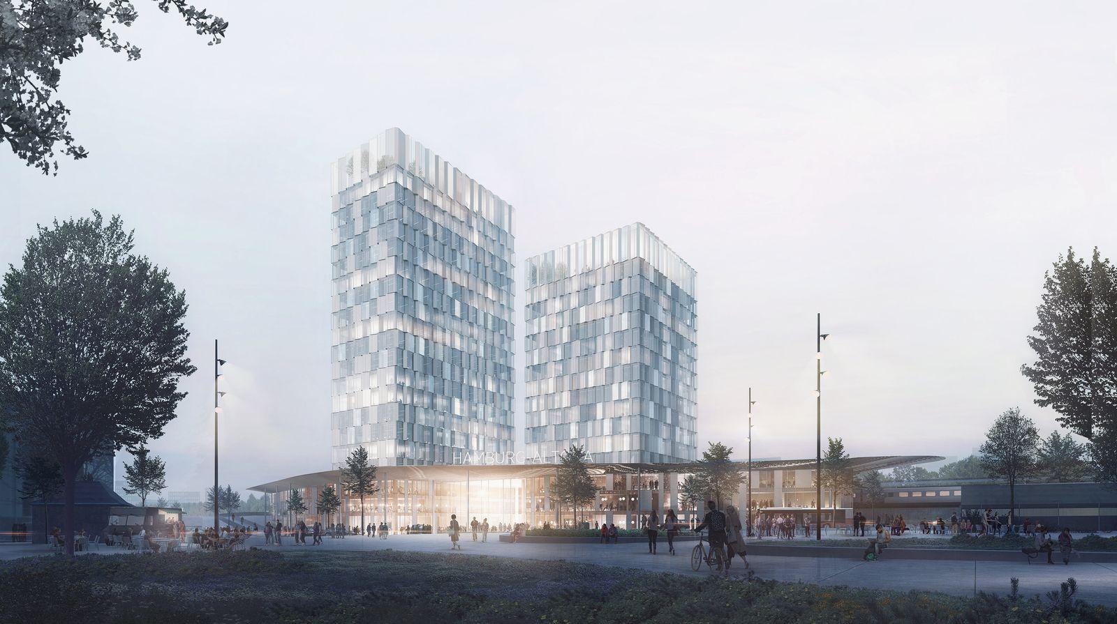 Fernbahnhof Bahnhof Altona/ Entwurf/ C.F. Møller