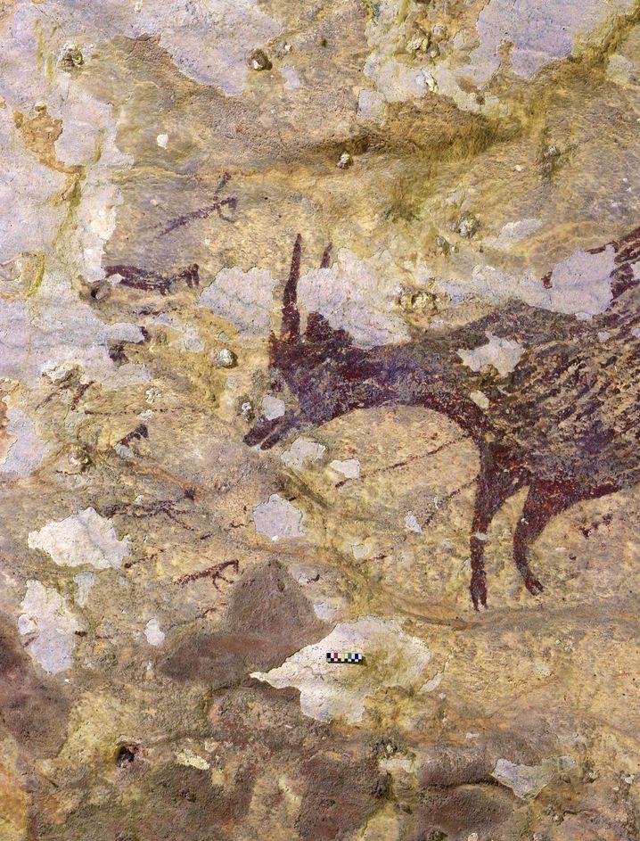 Höhlenmalerei in der Höhle auf Sulawesi