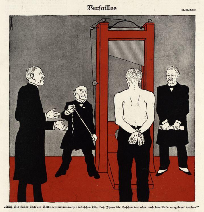 """Deutschland vor der Guillotine: Anti-Versailles-Karikatur im """"Simplicissimus"""" (1919)"""
