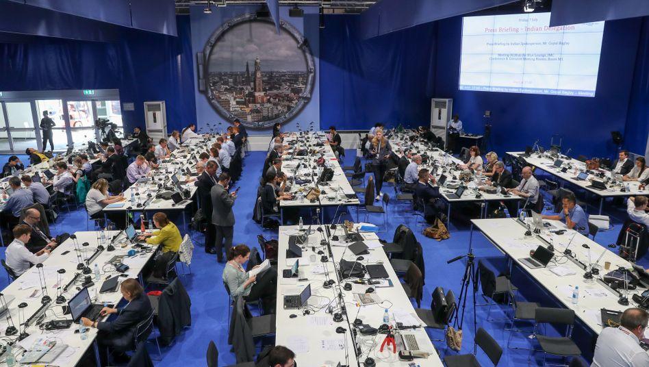 Journalisten im G20-Pressezentrum