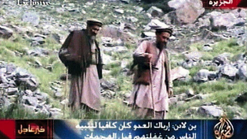 A video grab from Al Jazeera television thought to depict al-Qaida leaders Osama bin Laden and Ayman al-Zawahiri. The US has had trouble eliminating funding for the terrorist organization.