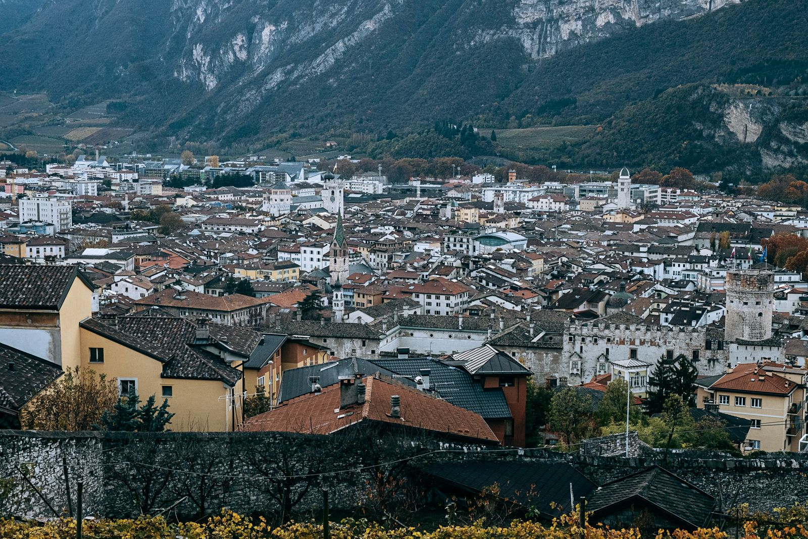 Trento, Italy. View of the town from the Monastery.