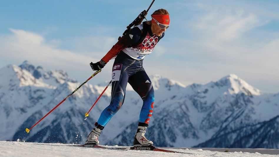 Biathlete Olga Zaitseva at the 2014 Winter Olympics in Sochi