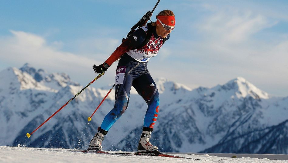 Biathlete Olga Zaitseva at the 2014 Winter Olympics in Sochi