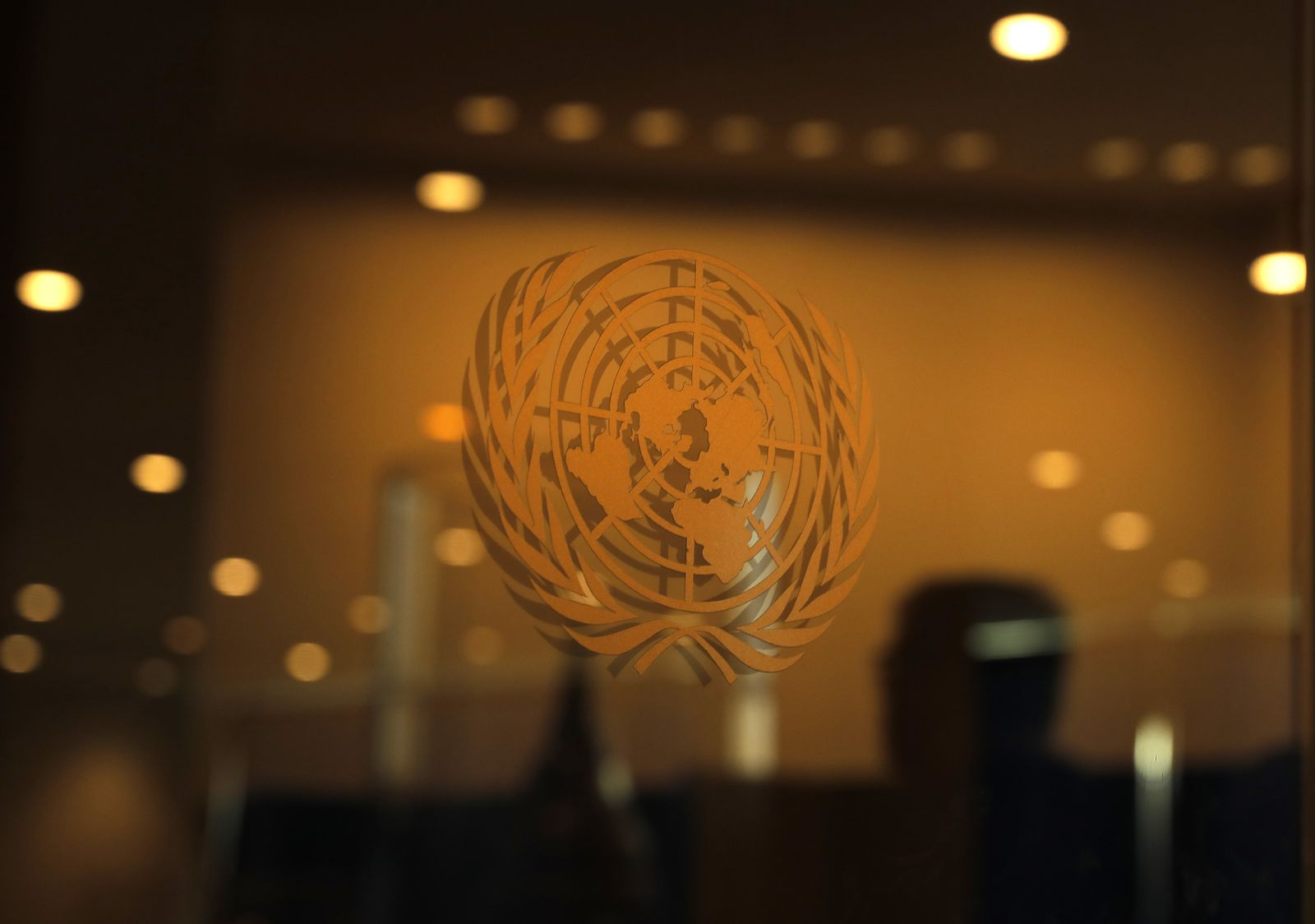 The United Nations logo is seen during the 2019 United Nations Climate Action Summit at U.N. headquarters in New York City, New York, U.S.