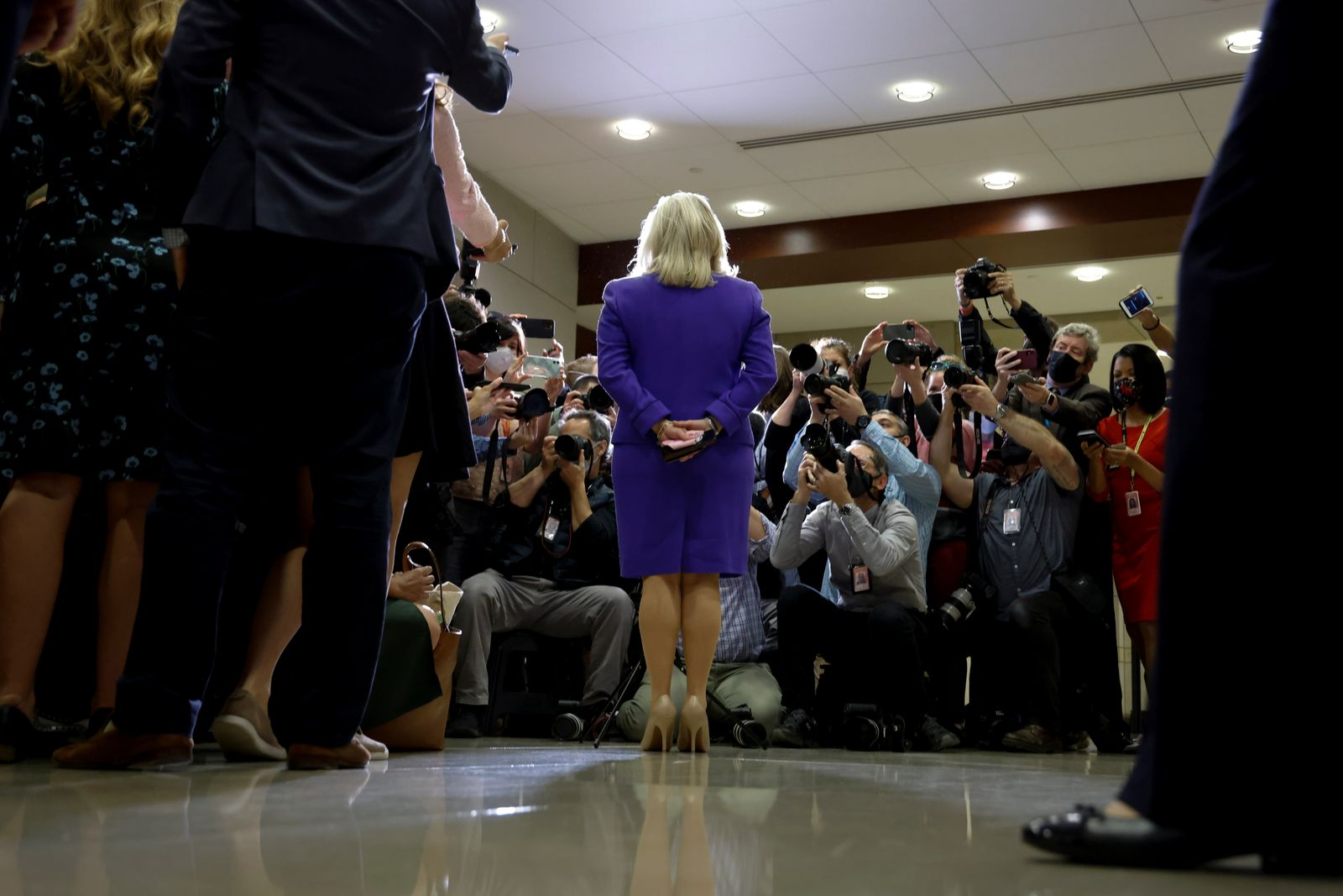 U.S. Representative Cheney speaks to reporters after her removal as chair of the House Republican Conference on Capitol Hill in Washington