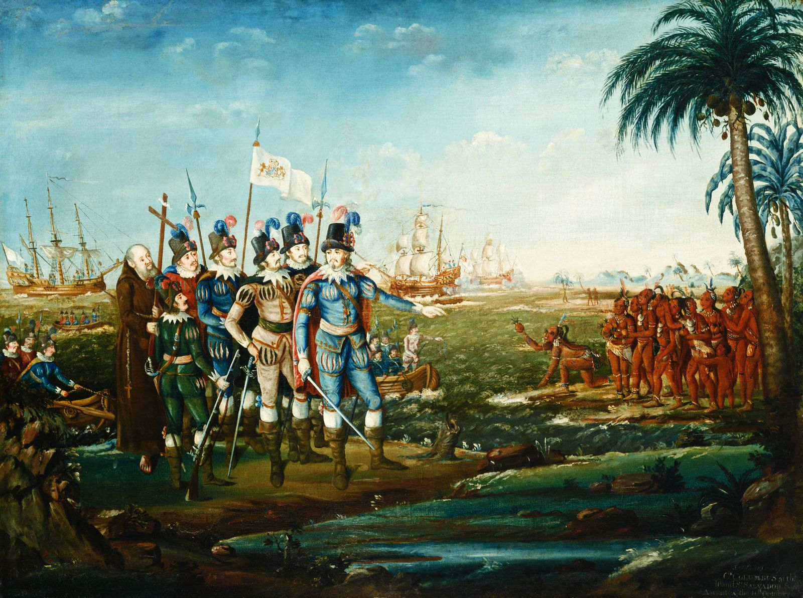 First Landing of Christopher Columbus, by Frederick Kemmelmeyer, c. 1800-05, American painting, oil on canvas. Columbus