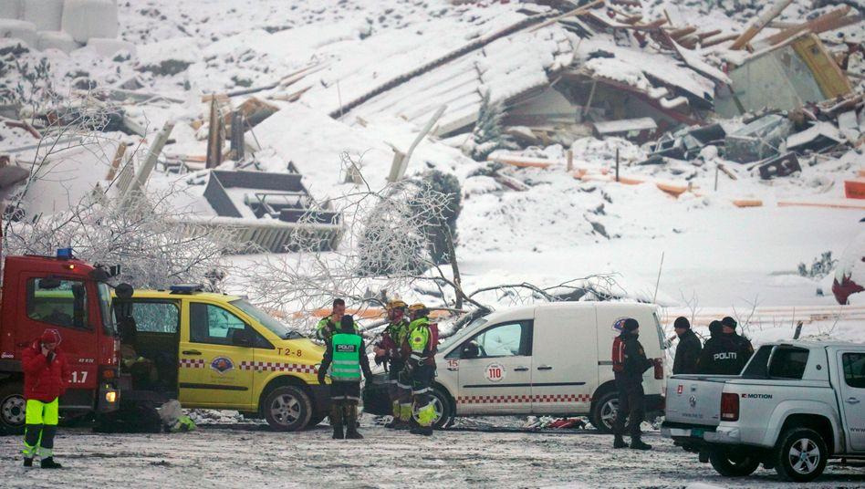 Unglücksstelle in der Ortschaft Ask nördlich von Oslo am Montag