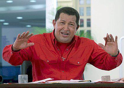 "Venezuelan President Hugo Chavez during a broadcast of ""Alo Presidente."""