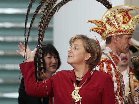 Merkel 2008 beim Karnevalstermin im Kanzleramt