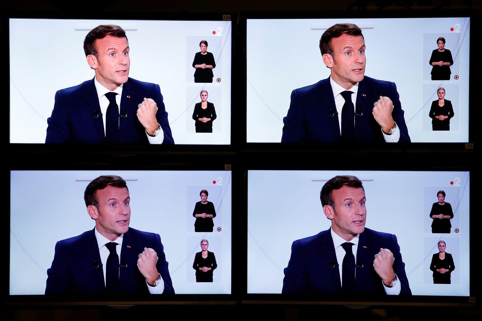 French President Emmanuel Macron speaks on national television