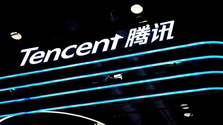 Tencent-Schriftzug auf einer Messe in China