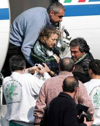 Sgrena nach ihrer Ankunft in Rom: Schüsse von Neulingen?