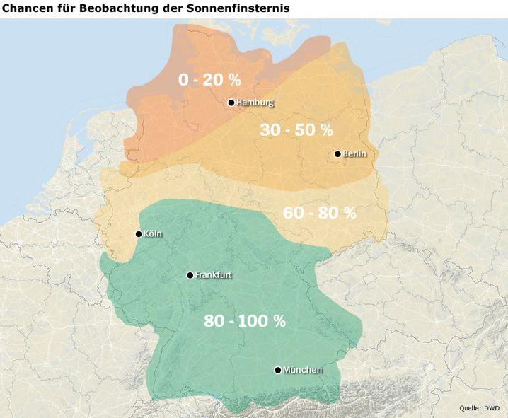 So wird das Wetter: SoFi-Beobachtungswahrscheinlichkeit in Prozent