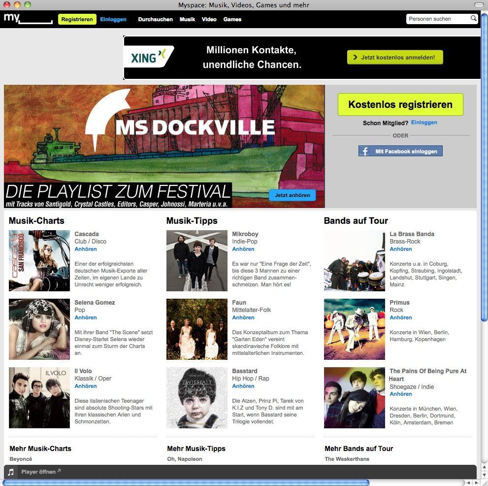 SCREENSHOT MySpace / NETZWELT