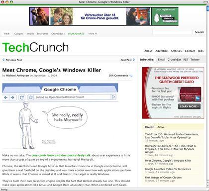 """Screenshot von TechCrunch-Comic-Umarbeitung: """"Wir hassen Microsoft"""""""