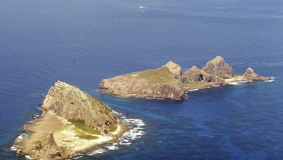 Luftaufnahme der umstrittenen Inseln im ostchinesischen Meer