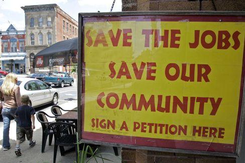 Protestplakat in Wilmington, Ohio: Rund 10.000 Jobs bedroht