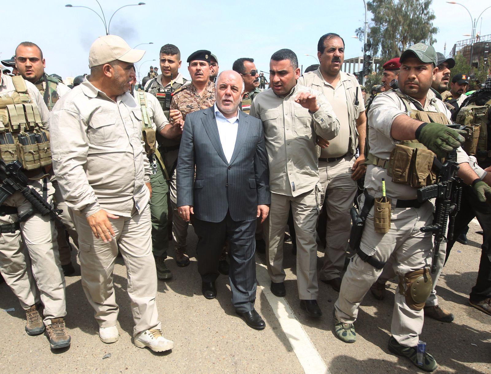 Iraqi Prime Minister Haidar al-Abadi in Tikrit